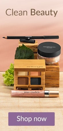 jane iredale and bareMinerals makeup products on a wooden block. Shop clean beauty products online at LovelySkin.com.