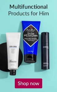 Multifunctional products for him. Click here to shop men's skin care.
