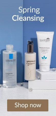 Epionce, LovelySkin and La Roche-Posay cleansers on a bathroom counter. Shop cleansing products online at LovelySkin.com.