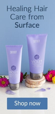 Surface Violet blow out crème and hair mask on a shelf. Shop healing hair care products online at LovelySkin.com.