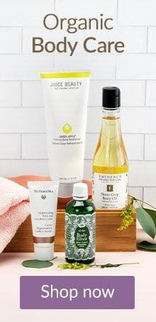Organic body care products arranged on a counter. Shop clean, organic body care products online at LovelySkin.com.
