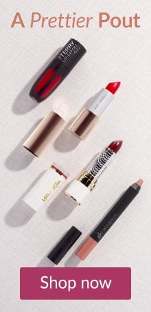 Lipsticks arranged on a white background. Shop LovelySkin for makeup, a prettier pout and quality lip products.