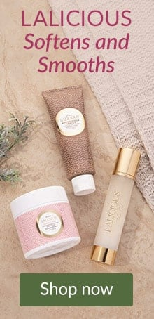 LALICIOUS products on a stone counter. Shop LovelySkin for LALICOUS Bath and Body to soften and smooth.