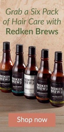 Beer bottle shaped Redken Brews shampoo and conditioner bottles. Grab a six pack of hair care with Redken for men.