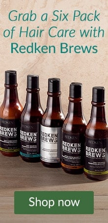 Redken Brews bottles on a bar. Grab a six pack of Redken Brews hair care products at LovelySkin.
