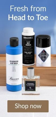 Brickell, Baxter and Jack Black products on a wooden shelf. Shop Men's styling products online at LovelySkin.com.