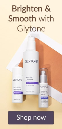 Brighten and smooth with Glytone. Click here to shop Glytone skin care products.