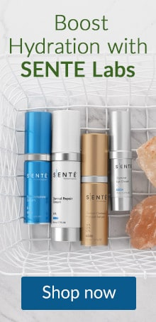 Four Sente skin care products in a basket. For a boost in hydration, click here to shop Sente skin care products.