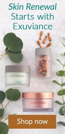 Exuviance products on tile. Renew skin with Exuviance skin care at LovelySkin.