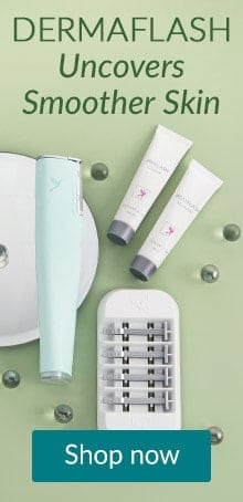 Dermaflash tools on a green backdrop. Shop Dermaflash to uncover smooth skin at LovelySkin.