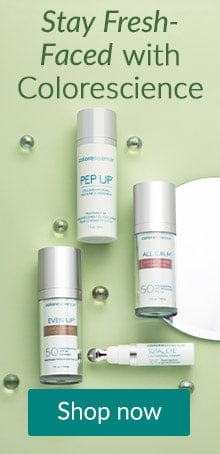 Colorscience products on a green backdrop. Stay fresh faced with Colorscience skin care at Lovelyskin.